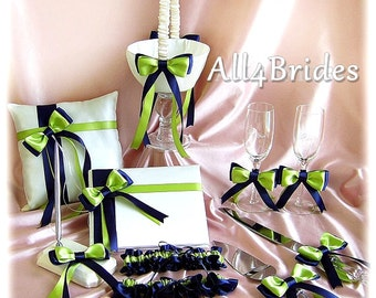 Navy Blue and Lime Green Wedding Flower Girl Basket, Ring Pillow, Guest Book, Bridal Garters, Cake Set, Glasses, 11pc wedding decorations