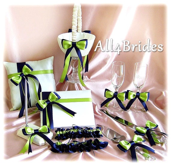 Navy Blue and Lime Green Wedding Flower Girl Basket, Ring Pillow, Guest Book, Bridal Garters, Cake Set, Flutes, 11pc