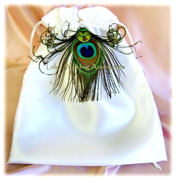 Peacock weddings bridal drawstring bag, wedding money dance bag, peacock feathers bridal accessories
