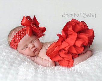 Handmade Red Sassy Pants Ruffled Bloomer Diaper Cover Newborn Baby Toddler