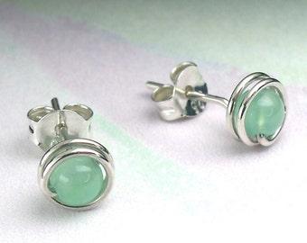 Chrysoprase Sterling Stud Earrings, Modern Gemstone Silver Posts, Translucent 4mm Green Chalcedony / gift under 50