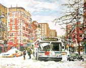 New York Winter Painting East Village In Snow 8x10, 11x14 or 12x16 Fine Art Print  New York Winter Cityscape by Gwen Meyerson
