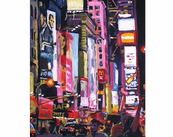 Broadway Times Square New York Painting  NYC Wall Decor Night Times Square, Neon, Art Print Cityscape  8x10, NYC Painting by Gwen Meyerson
