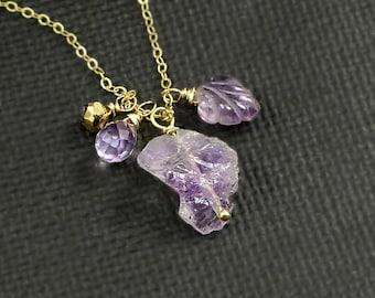 Amethyst Gemstone Charm Briolettes Gold Layering Necklace February Birthstone