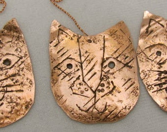 Cat Ornaments. Christmas Tree Ornaments. Cat Face Copper Ornament.  Kitty Lovers. BUY A KITTY..