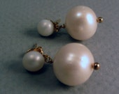 Genuine Pearl Earrings 14kt Gold-Filled Two Pearls