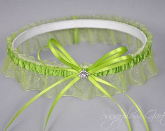 Wedding Garter in Apple Green with Swarovski Crystal