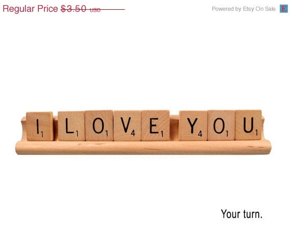 SALE Scrabble Love Card - Your turn