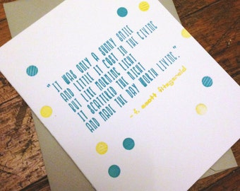 Box Set of 6 Smile Quote Letterpress Greeting Cards (Various Colors Available)