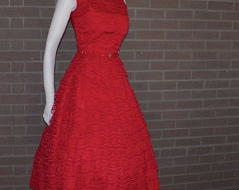 Vintage 1950's  Candy Apple Red Tiered  Lace  Circle Party Prom Dress  *Alfred Werber of Saint Louis*