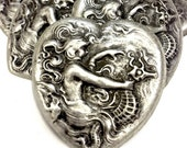 "3 Art Nouveau ""The Mermaid and the Seahorse"" Heart Stamping Charms, Vintage Silver Repousse',  (1218) pack of 3"