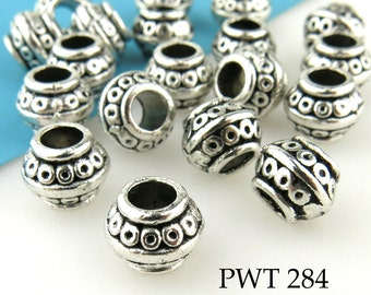 Large Hole Pewter Beads Hub with Circles Antique Silver 8mm (PWT 284) 10 pcs BlueEchoBeads
