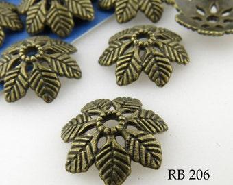 Large Leaf Antique Brass Bead Cap Leaf Antique Bronze Bead Cap 15mm (RB 206) 20 pcs BlueEchoBeads