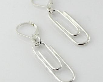 Sterling Silver Paper Clip Earrings - Paperclip Earrings - Geek, Geekery, Nerdy, Office Supply Lover