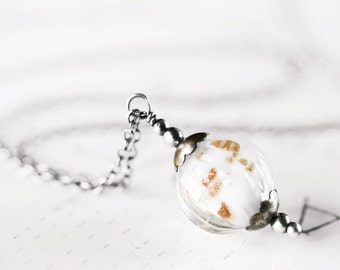 White Glass Pendant Necklace with Sparkling Copper Gold Dust - Oxidized Sterling Silver