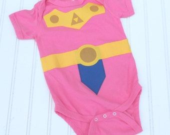 READY TO SHIP Great Costume /  Baby Shower Gift bodysuit Inspired by Legend of Zelda, Princess Zelda sewn cotton app