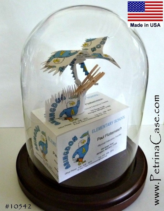 Eagle Business Card Sculpture 8939 or Peacock 1413..Made from your 20 Business Cards