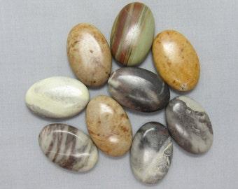 Jasper 30mm x 20mm Oval Focal Beads - 9 pieces #R6
