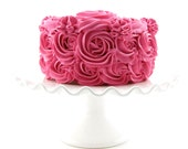 "Rosette Fake Cake For Your Kitchen Decor Hot Pink Frosting Approx. 6.75""w x 4""h Fab Photo Prop, First Birthday Decor, Shabby Chic"