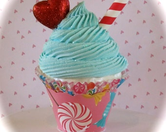 Candy Land Valentine Fake Cupcake Photo Prop Candyland Inspired Birthday Decor Glittery Red Heart I Heart Candyland