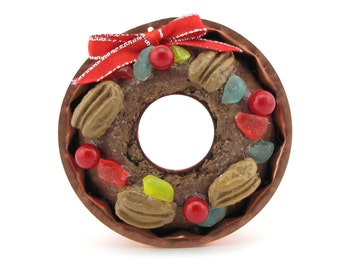 "Fruitcake Christmas Ornament w/ Vintage Copper Mold w/ Faux Fruitcake ""Nutty As A Fruitcake Collection"" Limited Ed. Fab Hostess or Gag Gift"