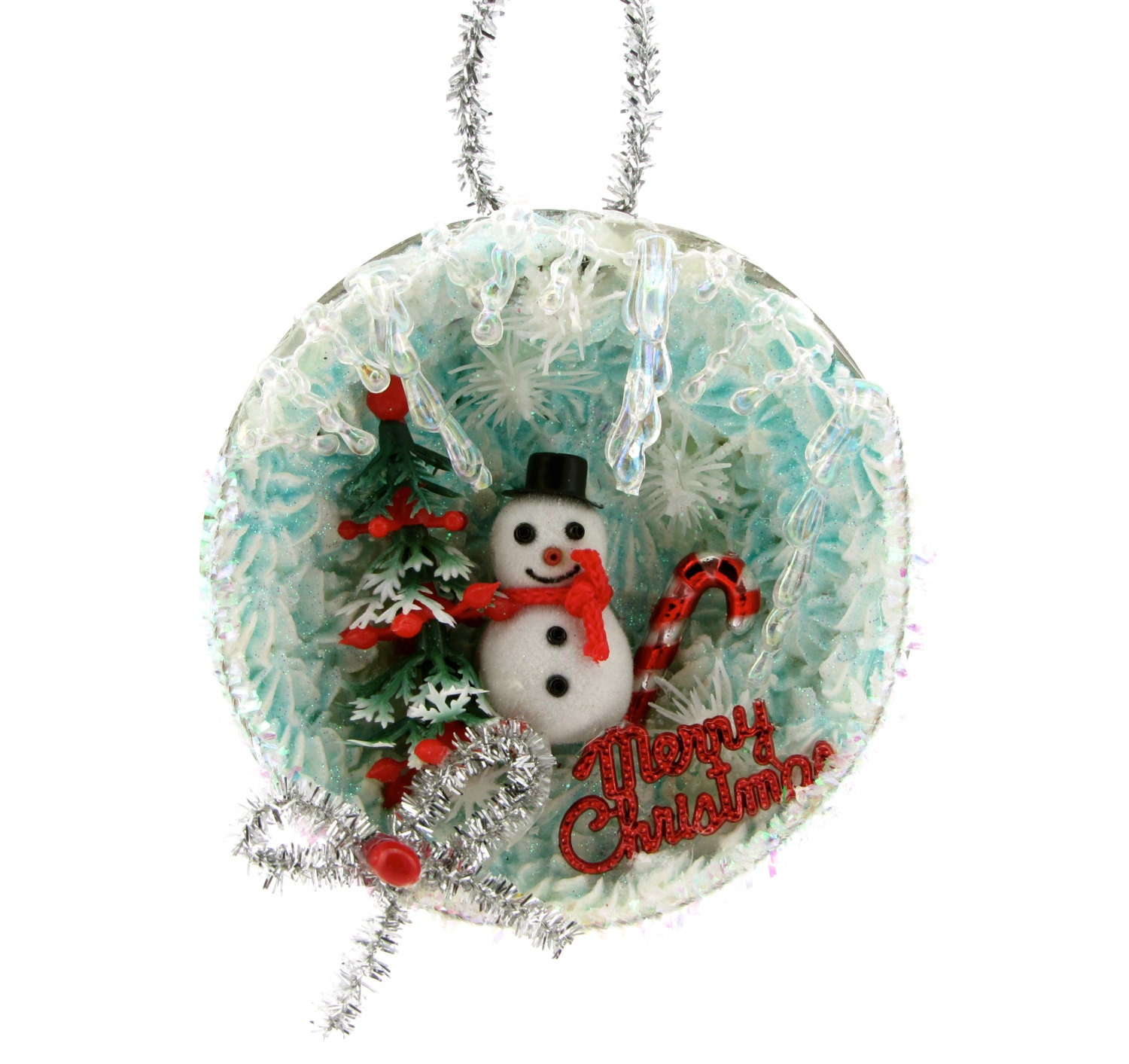Snowman christmas ornament w vintage baking mold tart tin