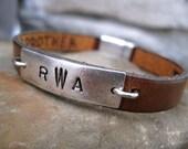 Mens Hidden Message Leather Bracelet - Custom Personalized - Stamped Message Bracelet