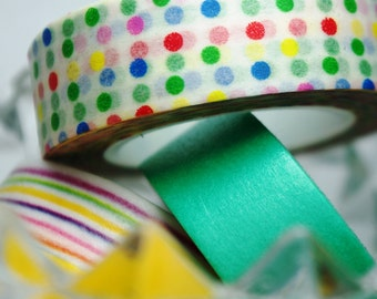 Washi Tape / Colourful Polka Dots / 10m x 1.5cm