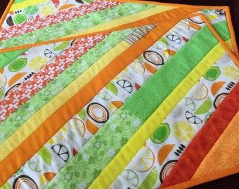 Handmade Quilted Placemats,Set of 2 Quilted Citrus Placemat,Yellow Orange Green Placemats,Quilted Table Linens,Summertime Placemats