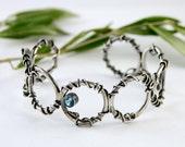 xX ON SALE Xx Sterling silver Cuff Bracelet  with Blue Topaz  - Secrets to Behold -