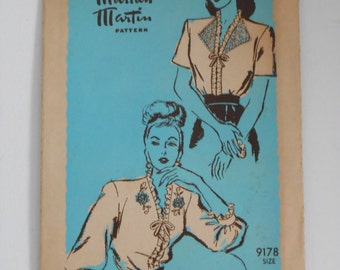 Vintage 40s Ruffle Edge Blouse Pattern Mail Order Marian Martin 9178 Size 14 Bust 32