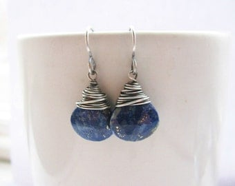 Silver Wire Wrapped Faceted Lapis Lazuli Briolettes