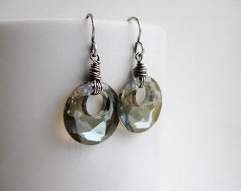 Dainty Bronze Swarovski Crystal Faceted Hoops