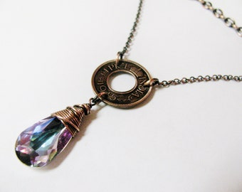 Genuine 1940's INdian Coin and Wire Wrapped Mystic Lavender Teardrop Necklace