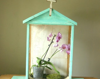 antique religious glass display, terrarium, Wardian Case, jewelry case, Icon, Santos, shabby chic, turquoise blue shrine