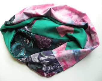 Infinity scarf women's circle woven floral cowl fashion, cotton multicolor pink blue green purple Bohemian Lhasa i366 Life's an Expedition