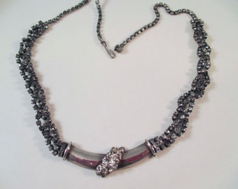 "Flapper Style Triple Strand Braided Silver Rhinestone 15-18"" Choker Necklace"