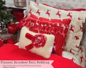 Flannel Reindeer Doll Bedding Set-!8 inch doll AG Girl Doll