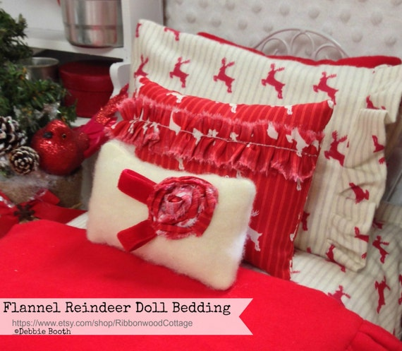 Flannel Reindeer Doll Bedding Set-!8 inch doll  Girl Doll