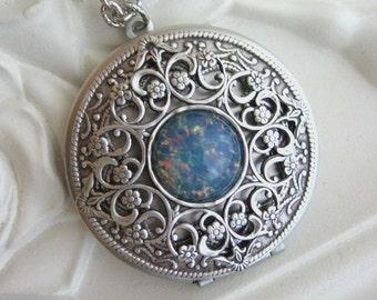 SALE Blue Fire Opal Locket, Filigree Locket, Silver Locket, Antique Locket, Silver Filigree Locket, Blue Opal Jewelry, Gifts for Her