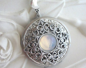 SALE Silver Moon Locket, Moon Necklace, Silver Locket Necklace, Enchanted Forest, Moonstone Jewelry, Moon Pendant, Victorian, Full Moon