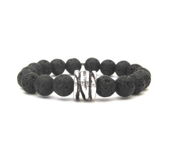 As Seen On Parenthood Black Lava Rock and Antique Silver Greek Ceramic Bead Stretch Bracelet stacking stackable stack