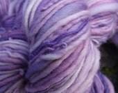 Handspun yarn,  handpainted yarn,   Falkland wool, worsted  yarn multiple skeins available-LILAC