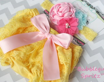 Baby lace bloomer set { Bubblegum Spritz } hot pink Aqua Yellow Lace Ruffle bloomers, Cake Smash or First Birthday baby photography prop
