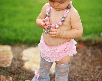 Birthday set { Fit for a Princess } gray pink lace leggings bloomer, Cake Smash, rhinestone tiara crown, chunky necklace, photography prop