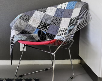 Modern Patchwork Baby Quilt in Black, Gray and Blue