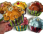 Handmade pottery cupcake bowl custom colors can be personalized