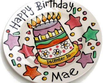 "CUSTOM Large 10"" Birthday Cake Plate Personalized Celebrate Everything"