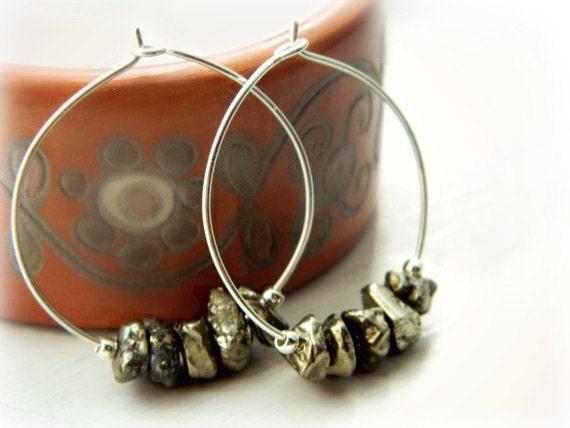 Sterling Silver Hoop Earrings - Pyrite / Tears of the Moon