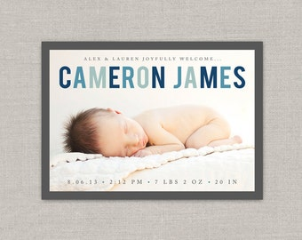 Baby Boy Birth Announcement - Cameron